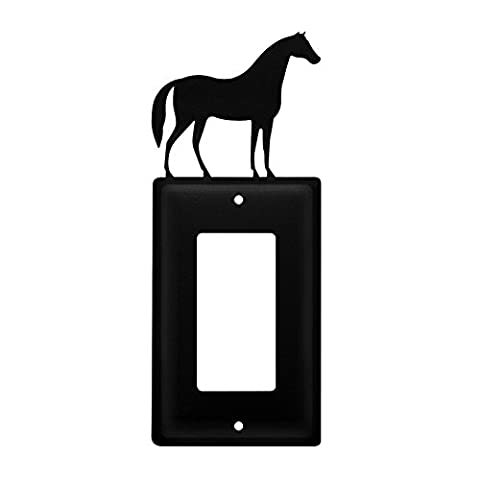 Iron Horse Single Modern Switch Cover - Heavy Duty Metal Light Switch Cover, Electrical Outlet Covers, Lightswitch Covers, Wall Plate (Cast Iron Single Rocker)