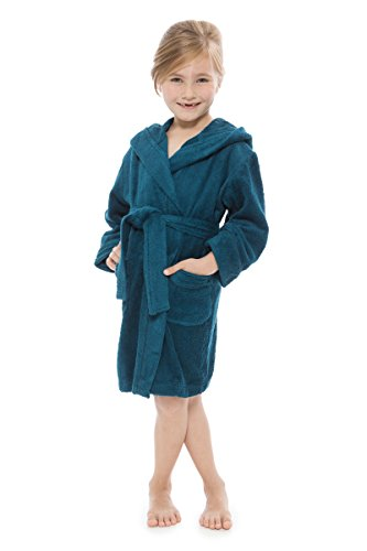 Kid's Hooded Terry Cloth Bathrobe - Cozy Robe by for Kids Texere (Rub-A-Dub, Tidepool, Medium) Perfect Valentine Gift Ideas for Daughter Son Brother Sister KB0101-TPL-M (Robe Boys Cotton)