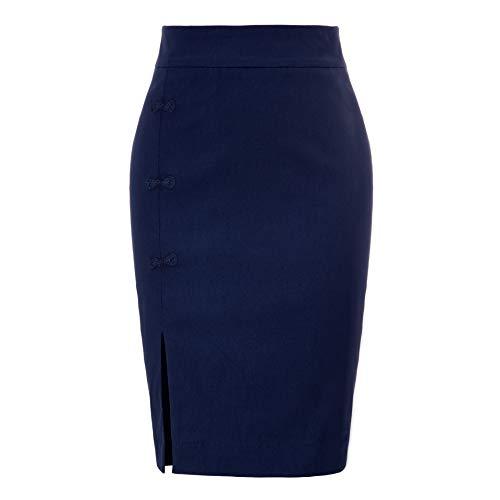 Womens Casual Plus Size High Waist Side Button Split Pencil Skirt Knee Length Navy Blue Size 2XL BP848-2