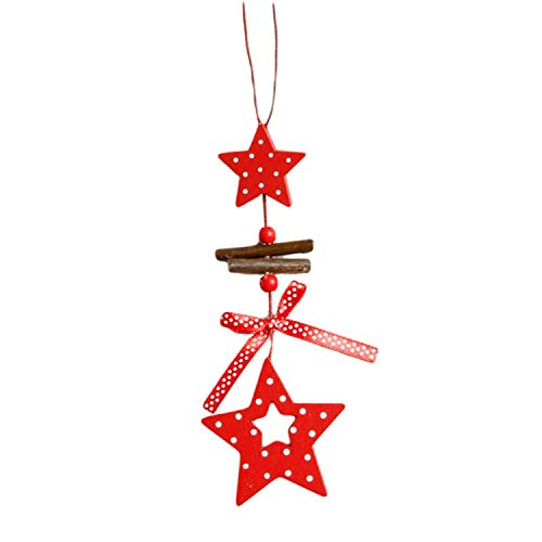 Noon-Sunshine decorative-plaques Wind Chimes Christmas Tree Ornaments Snowflake Heart Star Bell Xmas Party Home Christmas Decor Decoration,Star