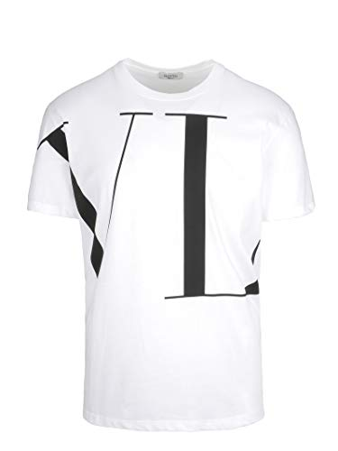 Valentino Men's QV0MG14D57F0NO White Cotton T-Shirt for sale  Delivered anywhere in USA