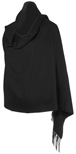 100% Cashmere Luxe Wrap Shawl Stole Grande 4-ply Travel Wrap High Grade Black by GateGirl