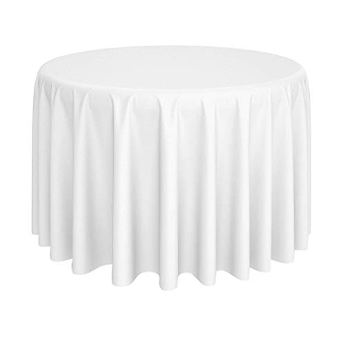 Global Bedding Paradise - Premium Cotton 120 Inch Round Tablecloth for Round Table Cover in Solid White - Great for Buffet Table, Parties, Holiday Dinner & More - Machine Washable