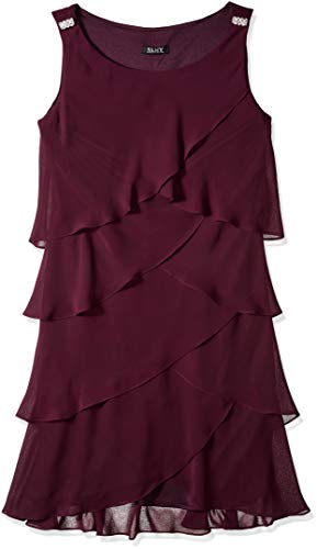 S.L. Fashions Women's Jewel-Strap Tiered Cocktail Party Dress (Petite and Regular), Fig, - Dress Tier Red