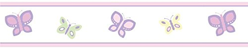 Baby Border Bedding (Pink and Purple Butterfly Baby and Childrens Wall Border by Sweet Jojo Designs)