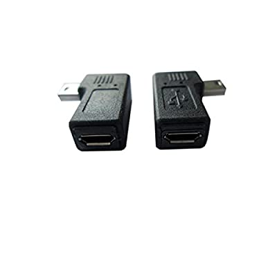 Akak Store USB 2.0 Adapter Plug?1 Pair 90 Degree Left and Right Angle Mini USB Male to Micro USB Female Connector Adapter