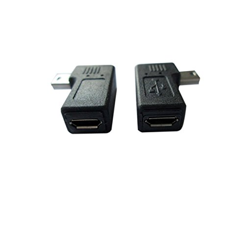 (AKOAK USB 2.0 Adapter Plug?1 Pair 90 Degree Left and Right Angle Mini USB Male to Micro USB Female Connector Adapter)