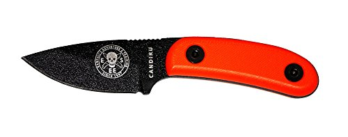 ESEE Knives Black CANDIRU Fixed Blade Knife with Orange G10 Handles and Black Molded Polymer Sheath by ESEE Knives