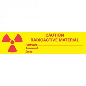 Caution Radioactive Materials Tape, Imprint 3/4 x 3 Inch, 500 Inch Roll