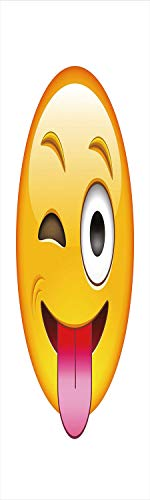 Emoji 3D Decorative Film Privacy Window Film No Glue,Frosted Film Decorative,Cartoon Like Technologic Smiley Flirty Sarcastic Happy Face with Tongue Modern Print,for Home&Office,23.6x70.8Inch Yellow ()