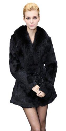 Queenshiny Long Women's 100% Real Rex Rabbit Fur Coat Jacket with Super Fox Collar-Black-L(12-14)