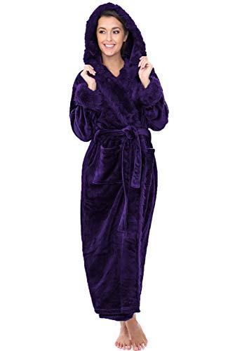 Alexander Del Rossa Womens Fleece Robe, Long Hooded Bathrobe, Small Medium Purple with Faux Fur (A0296PURMD)