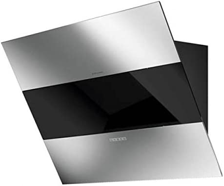 Diagonal Campana de la Clase Superior/galvamet Mood 86/A Black/100% Made in Italycon función 24h comodidad */Real Silencioso/Campana extractora oblicuo sin cabeza de pared Campana Negro Cristal inox Diseño/ECO