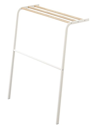 Stainless Steel & Wood Leaning Drying Towel Rack in White Fi
