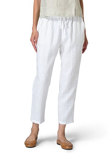 Vivid Linen Low Rise Narrow Leg Cropped Pants-S-White
