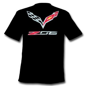 C7 Corvette Stingray Z06 with Crossed Flags T-shirt Black XX-Large