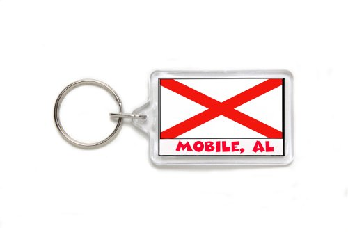 Mobile Alabama Souvenir Double Sided Acrylic Key Ring Medium Keyring Keychain Stocking Stuffer