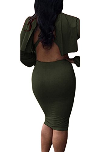 Green Pieces Dress 2 Outfit Bodycon Army Neck Skirt Women's Cloak Top High VOGRACE Cape P6BzqOWg