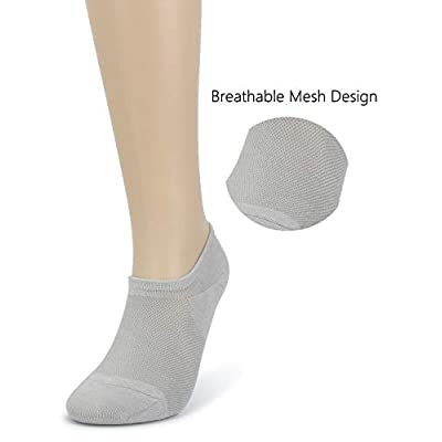 Leotruny Women's 6 Pairs Bamboo Mesh Design Low Cut Non Slip No Show Socks at Women's Clothing store