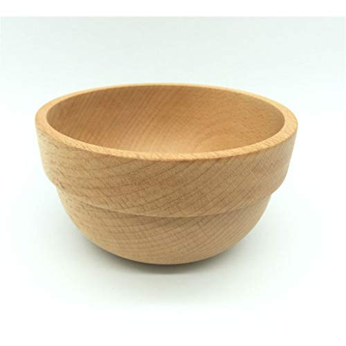 Clear Small Wood Cooking Bowl,Wooden Decorated Upscale Bowls Garden and Kitchen,Rice Sugar Breakfast and Soup Handmade Wooden Bowl 2 Piece Set (Color : Unpainted)