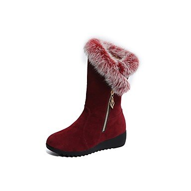 CN38 Fashion Shoes EU38 UK5 Flat Pu Black 5 Wine Women'S For 5 Round RTRY Boots Toe Winter Boots Heel US7 Casual pFwfqx