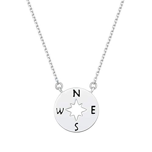 (MGZDH Women's Sterling Silver Necklace Jewelry Golden Compass Necklace 925 Sterling Silver Gold Plated Round Cutout Necklace, B)