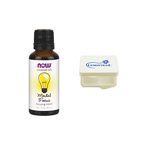 Price comparison product image Now Mental Focus Oil Blend,  1-Ounce Bundle with a Lumintrail Pill Case