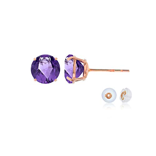 Purple February Gem - Genuine 14K Solid Rose Gold 6mm Round Natural Purple Amethyst February Birthstone Stud Earrings