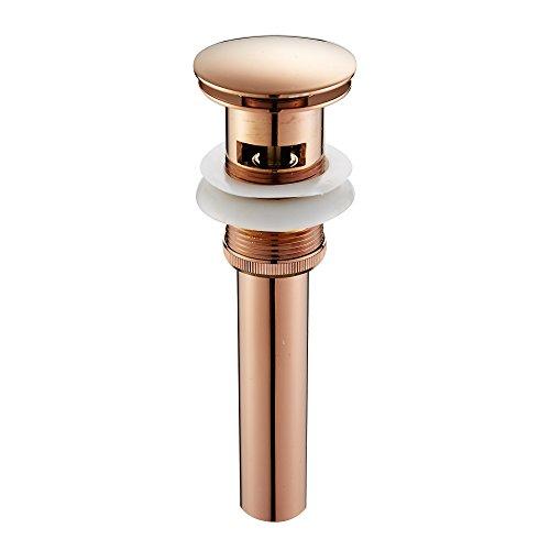 Leyden TM Polished Rose gold Brass Pop up Sink Drain Stopper for Faucet Vessel Sinks With Overflow