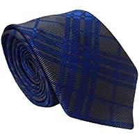 Gravata Slim Trabalhada Xadrez Importada Azul Cinza