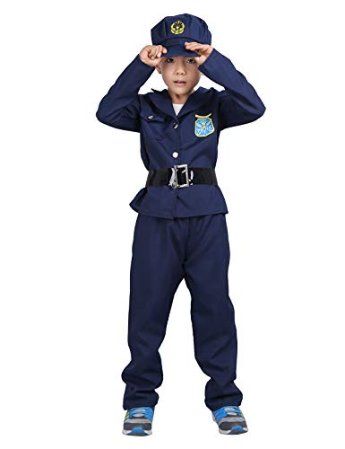 (YiZYiF Deluxe Police Officer Dress Up Children's Policeman Policewoman Detective Costume Set for Kids Boys Girls Cosplay Party Navy Blue)