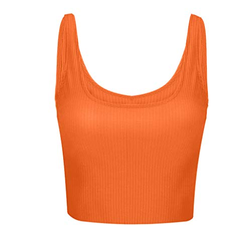 Lovor Women's Crop Tank Tops Cotton Sleeveless Crop Top Workout Running Sports Bra with Built-in Bra Racerback Yoga Tank(Orange,XL)