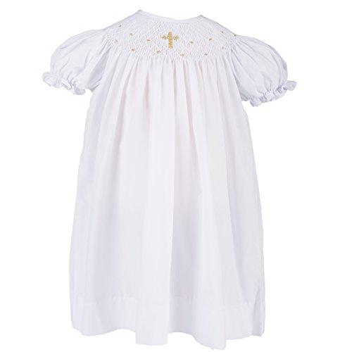 Bishop Dresses Infant (Baptism Dress for Girls Hand Smocked w Bonnet- Gold Cross,18M)