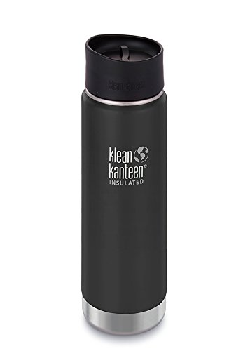 Klean Kanteen Wide Mouth Insulated Stainless Steel Coffee Mug with Klean Coat and Leak Proof Café Cap 2.0-20oz - Shale Black