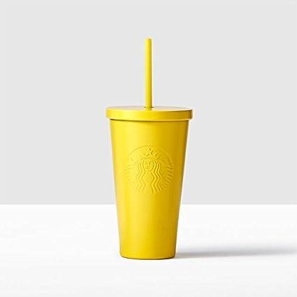 amazon com starbucks yellow lemon stainless steel cold cup 16 fl oz