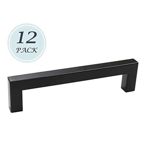 12 Pack Drawer Handle Black Stainless Steel, Square Bar Cabinet Pull for Kitchen and Bathroom Cabinets Door, 5