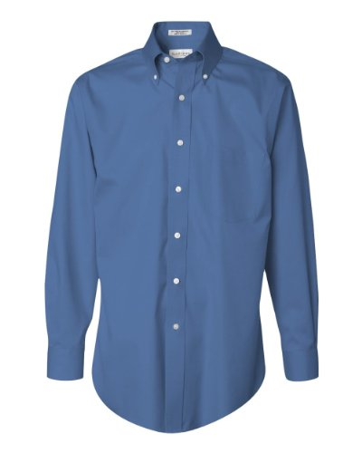 Iron Pinpoint Cotton Shirt (VAN HEUSEN V0143 Men's Long-Sleeve Non-Iron Pinpoint Oxford - Large - Blue)
