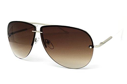 O2 Eyewear 506 Tint Lenz Teardrop Rimless Metal Frame Womens Mens Aviator Sunglasses (Rimless, BROWN/WHITE - White Sunglases