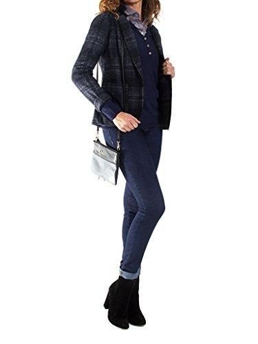451 Normale Carreaux Bleu Foncé Jeans Motif Pour Veste À Taille Longue Femme Et Manche Carrera G40 RE7Yx