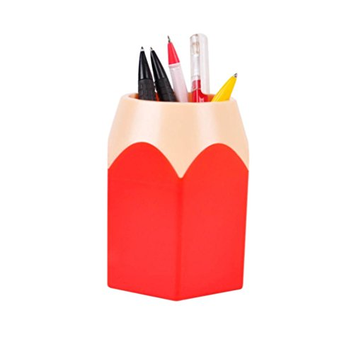 DZT1968® Pen&Pencil Makeup Brush Holders Desk Storage Organizer Office Supplies (Red)