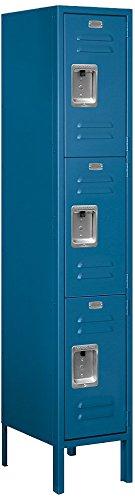 Salsbury Industries 63155BL-U Triple Tier 12-Inch Wide 5-Feet High 15-Inch Deep Unassembled Standard Metal Locker, Blue by Salsbury Industries