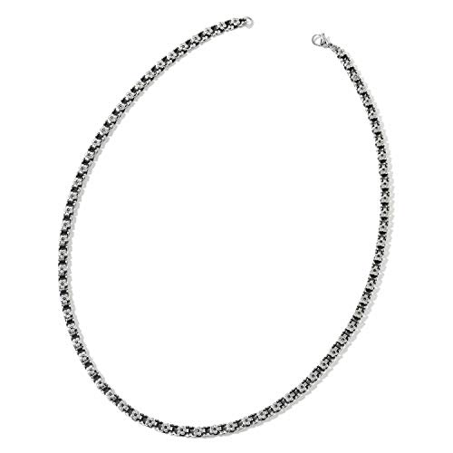 - Black Oxidized Stainless Steel Floral Box Necklace (24 in) New Gift Box! KS-31