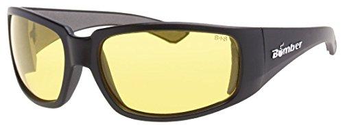 Bomber Wood (Bomber ST102 Stink-Bomb Safety Glasses - Yellow Lens, Matte Black Frames)