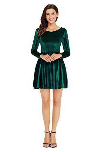 Annigo Velvet Dress for Women Long Sleeve Pleated New Years Eve Dress,Dark Green,Small by Annigo (Image #5)