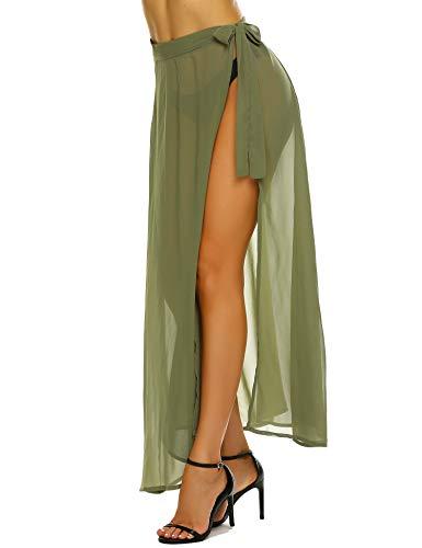 MAXMODA Women Wrap High Waist Summer Beach Cover Up Long Maxi Skirt Army - Beach Green