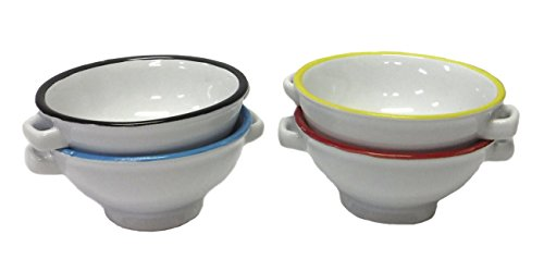 Set of 4 Small Ceramic Nut/Spice Serving Bowls - 4 Colors - 1.5'' x 3'' by Creative