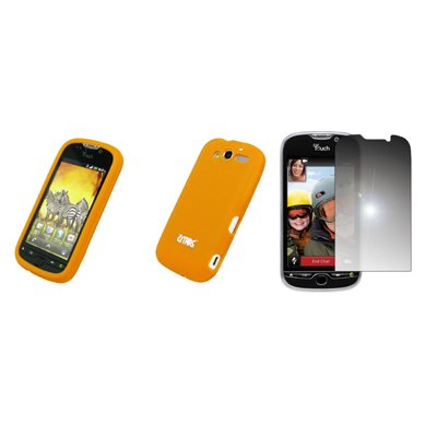 EMPIRE Orange Silicone Skin Cover Case Tasche Hülle + Mirror Displayschutzfolie Film for HTC myTouch 4G