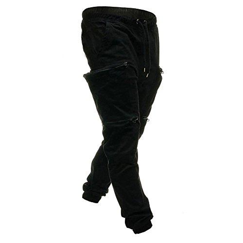 Joggers Ceinture Pour Jogging Homme Avec Activewear Cargo Moika Noir Pantalons Poches Survêtement Sport De Élastique RTRvI4qw