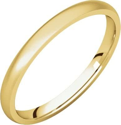 Size 14.5 Bonyak Jewelry 10k Yellow Gold 2 mm Lightweight Comfort-Fit Band