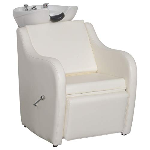 (BarberPub Backwash Ceramic Shampoo Bowl Sink Chair Station Spa Salon Beauty Bowls 9089 (White))